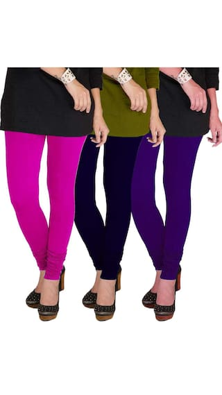 Three Lycra TBZ Leggings amp; XL Purple Magenta amp; Women's Cotton Navy Pack of Blue gBqBn4Rw