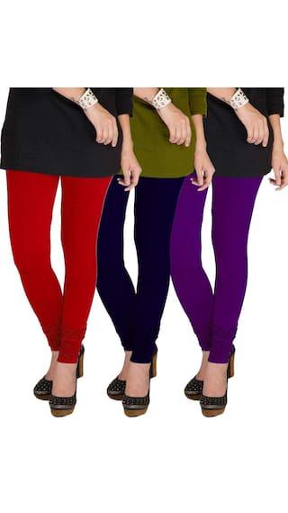 TBZ Cotton Lycra Women's Leggings (Red & Navy Blue & Voilet) Pack of Three - Large
