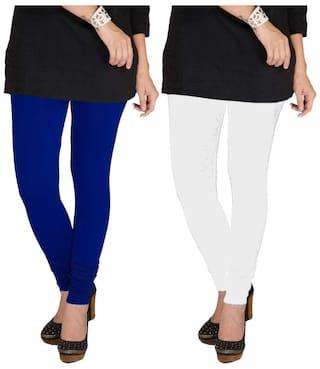 TBZ Cotton Lycra Women's Leggings (Royal Blue & White) Pack of Two - XXL