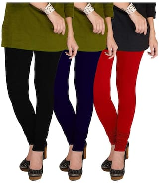 Three Cotton Red XL Navy Leggings amp; TBZ of Lycra Black Women's amp; Pack Blue B4wqFR6q
