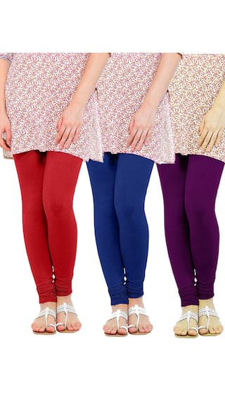 amp; Blue Women's Royal Leggings Three Lycra amp; Viscose of Voilet Red TBZ XXL Pack fxpw8q0