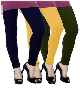 TBZ Woolen Leggings for Women- Dark Green & Yellow & Navy Blue (Pack of Three) -XL