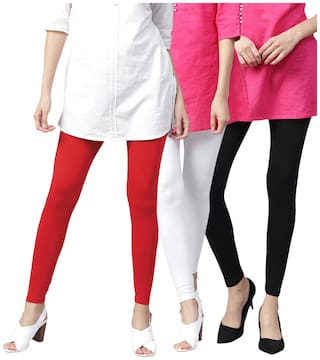 TCG Bio wash 100% pure Cotton with Spandex Tomato Red;Black & White Ankle leggings 3pcs Combo