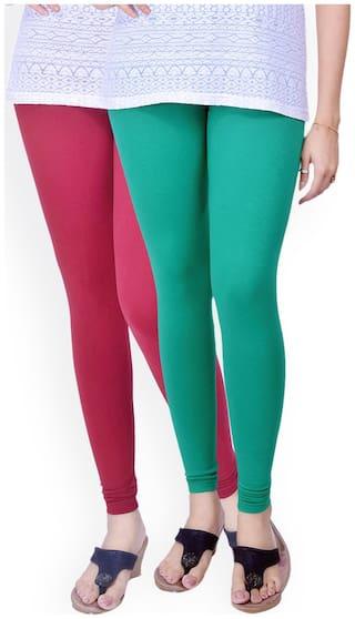 TCG Comfortable 100% Cotton base Lycra Green & Pink Color Leggings Set_GL04GRM