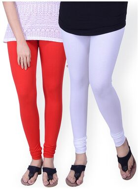 TCG Comfortable 100% Cotton base Lycra White & Orange Color Leggings Set_GL10WHM