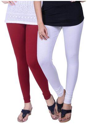 TCG Comfortable 100% Cotton base Lycra White & Maroon Color Leggings Set_GL03WHM