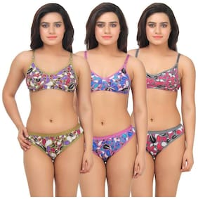 Printed Cotton Lingerie Sets ,Pack Of 3