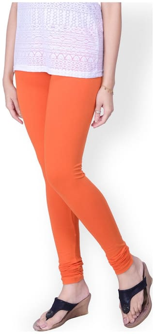 TCG Light weight Comfortable Cotton Lycra Orange Color Leggings_GL001OR