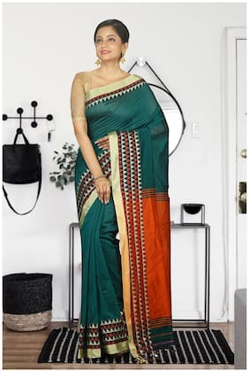 Teal Art Silk and Cotton Handloom Saree with Blouse Orange