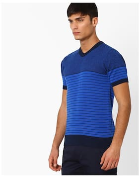 Teamspirit By Reliance Trends Men Regular Fit V Neck Striped T Shirt Blue
