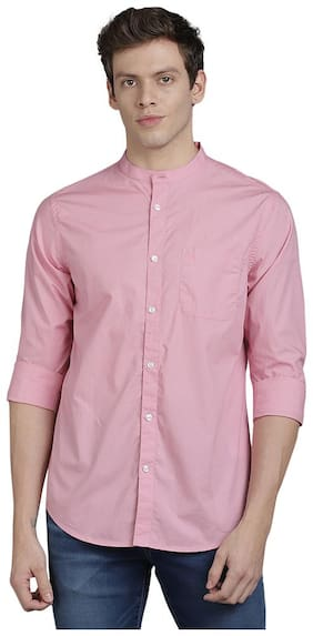 TED HARBOR Men Pink Solid Slim Fit Casual Shirt