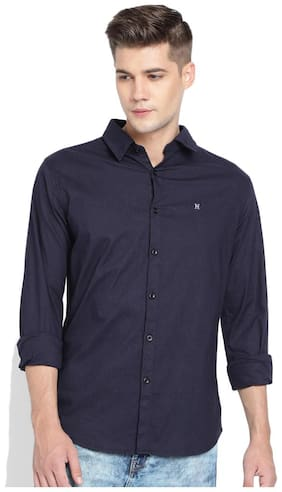 TED HARBOR Men Black Solid Slim Fit Casual Shirt