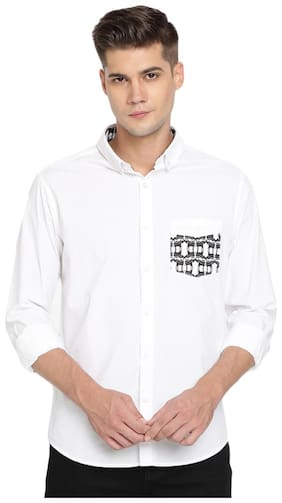 TED HARBOR Men White Solid Slim Fit Casual Shirt