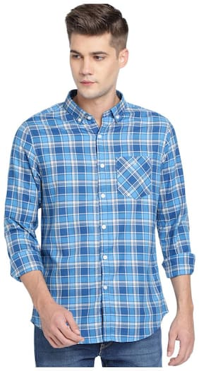 TED HARBOR Men Blue Checked Slim Fit Casual Shirt