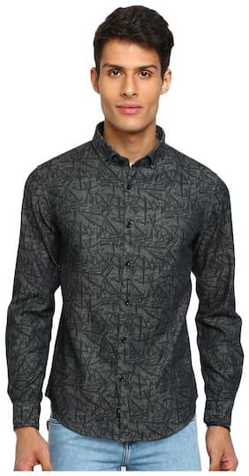 TED HARBOR Men Grey Printed Slim Fit Casual Shirt