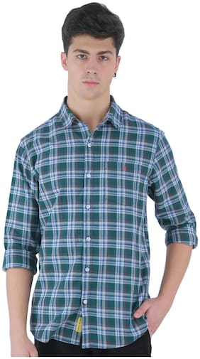 TED HARBOR Men Green Checked Slim Fit Casual Shirt