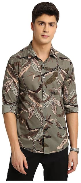 TED HARBOR Men Grey Floral Slim Fit Casual Shirt