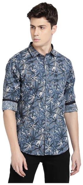 TED HARBOR Men Blue Printed Slim Fit Casual Shirt