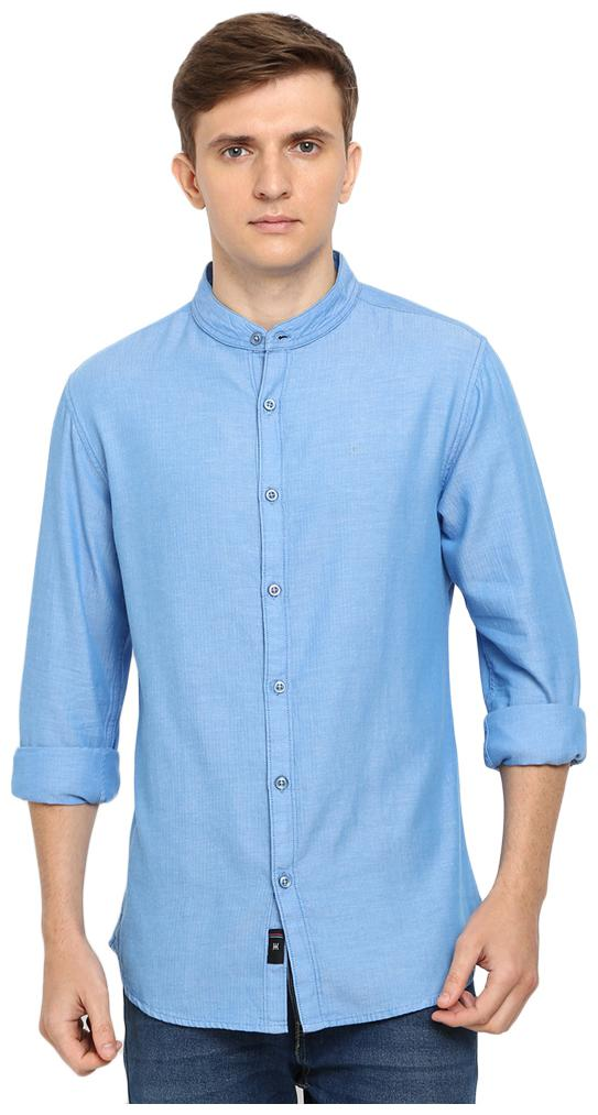 TED HARBOR Men Cotton Casual Shirts Blue