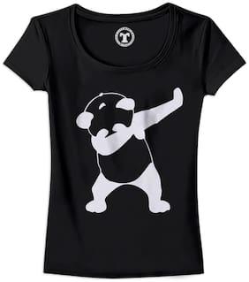 Tees World Women Solid Round neck T shirt - Black