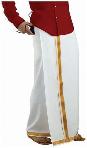 Texas Cotton Solid Regular dhoti Dhoti - White