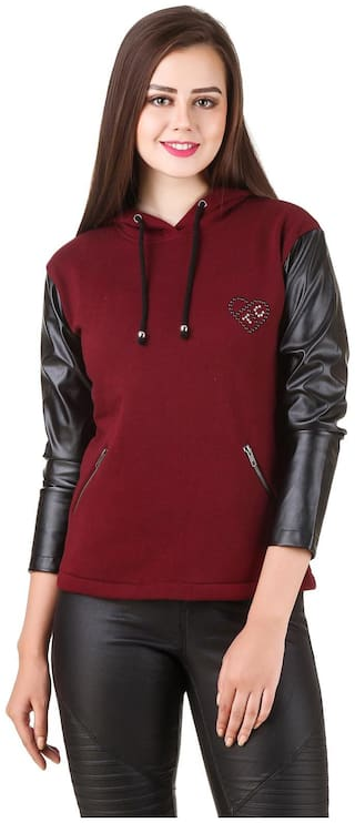 Texco Women Solid Hoodie - Red