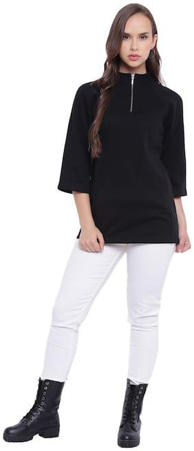 Texco Women Solid Sweatshirt - Black