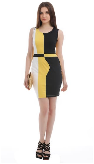 Dress And Yellow Cotton Size Texco L Black 7W5TzA7vn