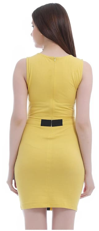 Black Cotton Yellow And Dress L Texco Size dBqtwd