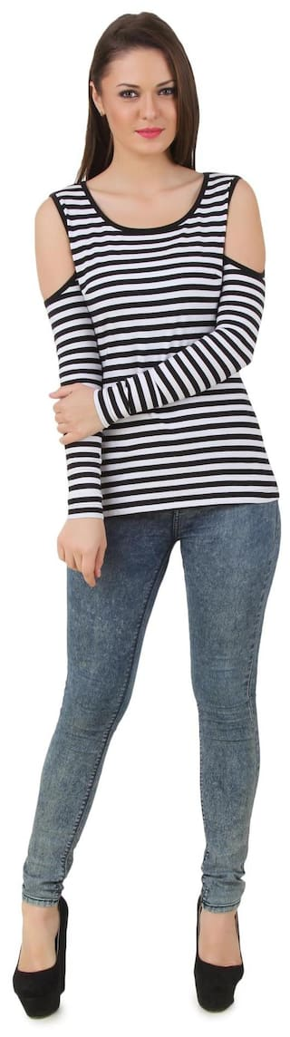 73011bb37454e Buy Texco black and white stripe cut out shoulder top Online at Low ...