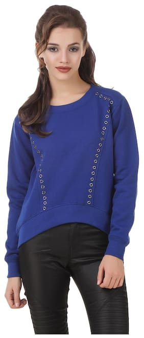 Texco Blue high low studs detailing Winter Sweatshirt