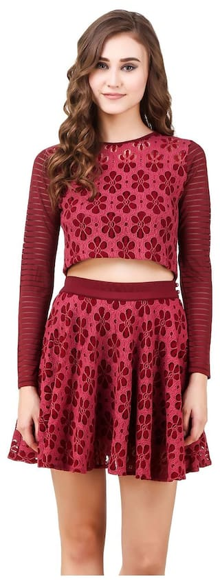 Texco Burgandy Pink Double Tone Lace Crop Top & Flared Skirt (Co-Ords)2 piece dress