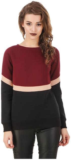 Texco Color block Maroon , Beige & Black Sweatshirt