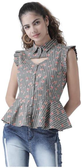 Women Floral Classic Collar Top