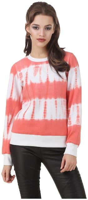 Texco Full Sleeve hott pink tye - dye Women's sweatshirt