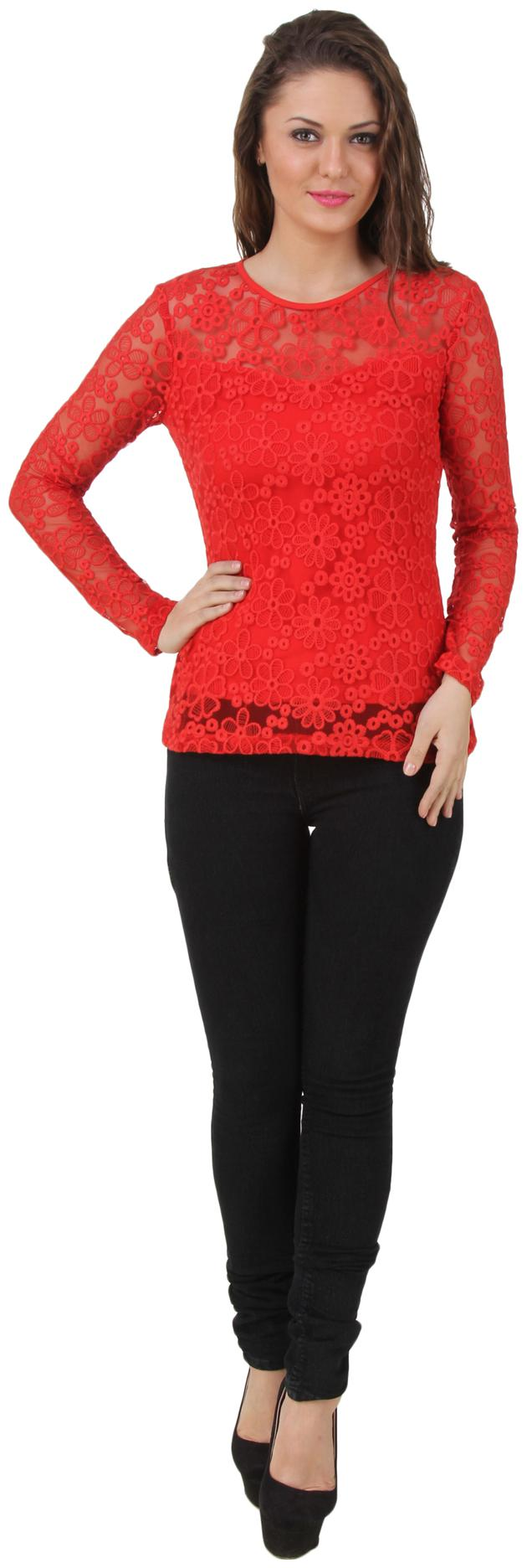 Texco Full Sleeve Floral Pattern Sheer Red Lace Top