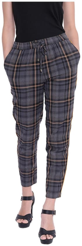 Women Checked Regular Trousers