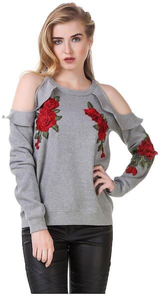 Texco Women Floral Sweatshirt - Grey