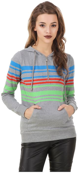 Texco Women Striped Hoodie - Grey