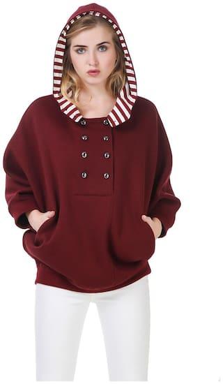 Texco Women Solid Sweatshirt - Red