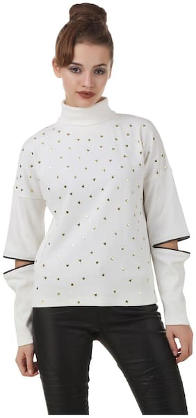 Texco Ivory White Studs Embelished Turtle Neck Full Sleeve With Cut Out Zipperer Detailing Winter Sweat Shirt