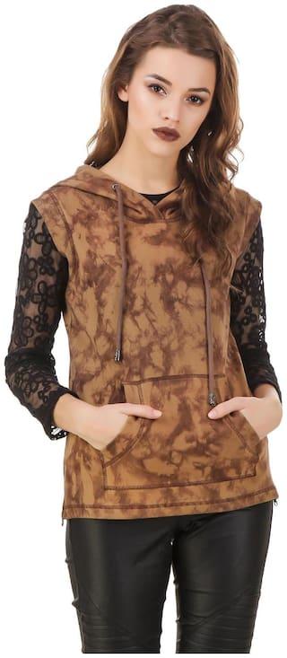 Texco Khaki Sleeveless Tye-Dye Winter Sweatshirt