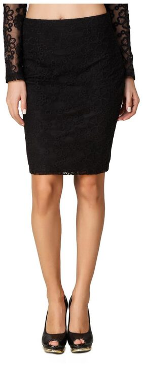 Texco Knee Length Black Floral Embroidered Lace Skirt