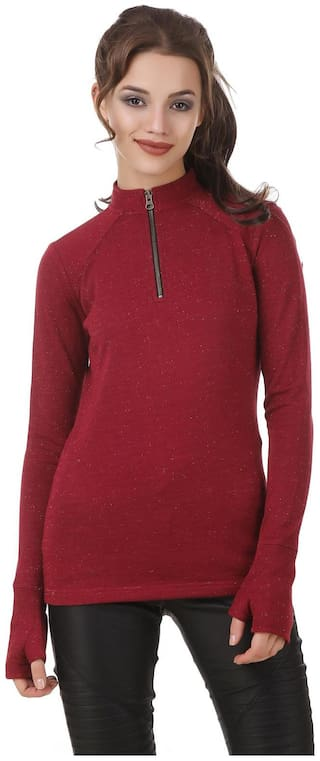 Texco Lurex Maroon zipper mock neck well crafted sweatshirt with attached gloves