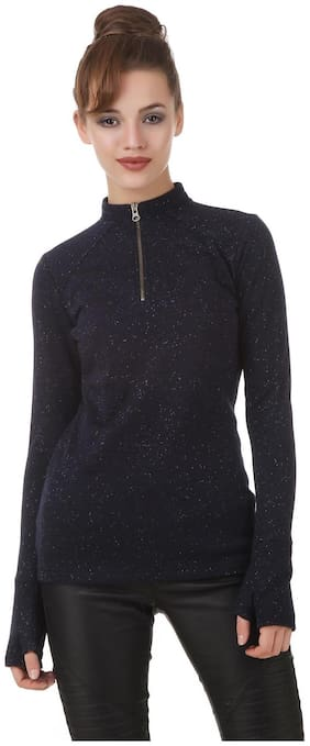 Texco Lurex Navy zipper mock neck well crafted sweatshirt with attached gloves