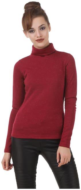 Texco Maroon embelished roll neck winter sweatshirt