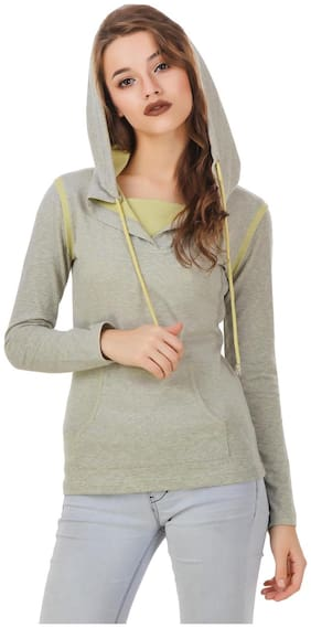 Texco Melange Grey & Lime Smart Casual Light Breezy Winter Sweatshirt