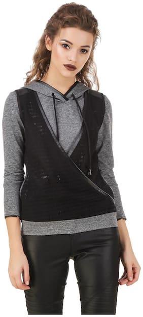 Texco Milange Dark Grey Lace Crossover Hooded With Detachble Gloves Biker Sweatshirt