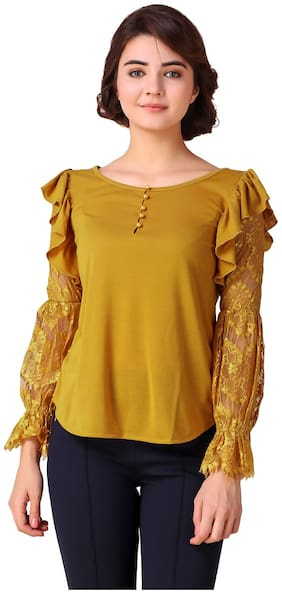 Texco Women Polyester Lace - Regular Top Yellow
