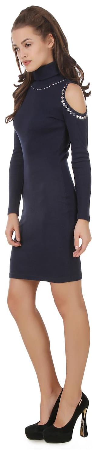 roll neck bodycon Texco sleeve embelish Navy cold shoulder dress winter vqBwxwfP6